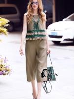 เสื้อผ้าเกาหลีพร้อมส่ง Lovely Kaki Green Summer Set