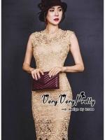 ชุดเดรสเกาหลีพร้อมส่ง Gold Floral Sleeveless Lace Dress