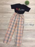 เซ็ท burberrys เสื้อยืดผ้าคัทตอลมรงสวย มาพร้อมกางเกง
