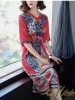Dress คอวี แขน 3 ส่วน เนื้อผ้าชิฟฟร้อน ปริ้นลายกราฟฟิค