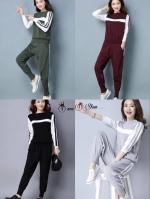 เสื้อผ้าเกาหลีพร้อมส่ง ชุดเซทเสื้อแต่งแถบคู่กับกางเกงจั๊มปลายขา