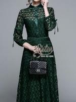 เดรสลูกไม้สีเขียวลุคเรียบหรู ผ้าทอลายสวยทั้งตัว