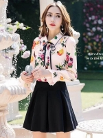 เสื้อผ้าเกาหลีพร้อมส่ง เสื้อเชิ้ตคอปกปริ้นลายดอก แบบ Gucci ดีไซน์เรียบหรู
