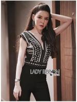 เสื้อผ้าเกาหลีพ้อมส่ง จัมป์สูทสีดำตกแต่งคริสตัลลายชนเผ่า