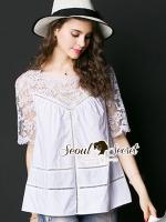 เสื้อผ้าเกาหลีพร้อมส่ง Korea Shirts Lace Chic Chic