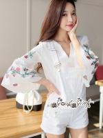 Lace T-Shirt White Sleeve Embroidery Bib Short Gene