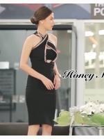 ชุดเดรสเกาหลีพร้อมส่ง Dressคล้องสีดำลุคสุดGlamสุดเผ็ชชชชช
