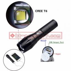 Ultrafire 2018 power bank Flashlight CREE XML T6 LED 3 Modes ไฟฉาย แรงสูง ซูมได้ 2200mah