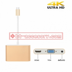 usb type c 3.1 to vga hdmi audio 3in1 converter cable