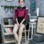 เสื้อผ้าเกาหลีพร้อมส่งเสื้อเชิ้ตแขนยาวต่อผ้ายืดช่วงบน ดีไซน์เปิดไหล่ thumbnail 2