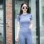 เสื้อผ้าเกาหลีพร้อมส่ง เสื้อยืดคอกลมเเขนสั้น มาคู่กับกางเกงขาม้า thumbnail 7