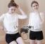 เสื้อผ้าเกาหลีพร้อมส่ง เสื้อผ้าลูกไม้แขนยาวสีขาวสไตล์คลาสสิกวินเทจ thumbnail 4