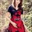 ชุดเดรสเกาหลี พร้อมส่งมินิเดรสปักลายดอกกุหลาบสีแดงสไตล์หวานปรเซ็กซี่ thumbnail 7