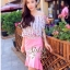 เสื้อผ้าเกาหลี พร้อมส่งเซ็ตเสื้อ+กระโปรง ตัวเสื้อผ้าchiffonพิมพ์ลายดอกสวยเก๋ thumbnail 12