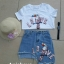 เสื้อผ้าแฟชั่นเกาหลีพร้อมส่ง เสื้อยืด+กระโปรงยีนส์ขาสั้น thumbnail 5