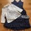 เสื้อผ้าเกาหลี พร้อมส่งเซ็ตเสื้อผ้าลูกไม้แขนยาวสีขาวทับด้วยสายเดี่ยวผ้าเครปน้ำเงินเข้ม thumbnail 15