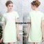 เสื้อผ้าเกาหลี พร้อมส่งชุดเดรสทรง A แขนสั้นสีเขียวพาสเทลผ้าโพลีเกรดพรีเมี่ยม thumbnail 3