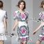 ชุดเดรสเกาหลี พร้อมส่งเดรสผ้าโพลีเอสเตอร์กระโปรงระบายปักลายดอกไม้สีสดใส thumbnail 4