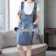 เสื้อผ้าเกาหลีพร้อมส่ง Star pendant T-shirt Splitty Skirt Bibby Set thumbnail 12