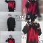 เสื้อผ้าเกาหลีพร้อมส่ง เสื้อไหมพรมเกาหลี MAMC พื้นดำทอลายตัดแดง thumbnail 3