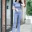เสื้อผ้าเกาหลีพร้อมส่ง เสื้อยืดคอกลมเเขนสั้น มาคู่กับกางเกงขาม้า thumbnail 5