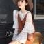 เสื้อผ้าเกาหลี พร้อมส่งเสื้อลูกไม้สีขาวล้วนกระดุมหน้า thumbnail 2