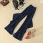 เสื้อผ้าเกาหลีพร้อมส่ง กางเกงขาบานแบบเอวสูงมาก แต่งระบายด้านข้างสีกรม thumbnail 6