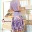 ( พร้อมส่งเสื้อผ้าเกาหลี) เซ็ตเสื้อกระโปรงโทนสีม่วง เนื้อผ้ายืดอย่างดี ตัวเสื้อเป็นผ้าลูกไม้ฉลุรูปดอกไม้ขนาดเล็กรอบคอเสื้อ ไหล่แขน และรอบชายเสื้อ ส่วนตรงกลางเสื้อฉลุด้วยรูปดอกไม้ลายดอกขนาดใหญ่ ชายเสื้อด้านหน้าผ่ารูป V คว่ำ มาพร้อมซับในสีม่วงและเข็มขัดอย่า thumbnail 3