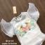 เสื้อผ้าเกาหลีพร้อมส่ง เสื้อซีทรูแขนสั้น ด้านหน้าปักดอกไม้สีสันสดใส thumbnail 7