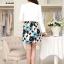 เสื้อผ้าเกาหลี พร้อมส่ง เสื้อสูทแขนยาวสีขาว + เดรสสั้นลายดอกไม้สีฟ้า thumbnail 4
