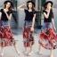 เสื้อผ้าเกาหลีพร้อมส่ง Sheila Black Top + Denim Skirt thumbnail 6