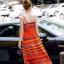 ชุดเดรสเกาหลี พร้อมส่งเดรสตัวยาว สีส้มโทนสดใส thumbnail 3