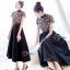ชุดเดรสเกาหลี พร้อมส่งLong dress ลูกไม้ช่วงตัวบน ขาวดำ thumbnail 6