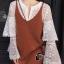 เสื้อผ้าเกาหลี พร้อมส่งเสื้อลูกไม้สีขาวล้วนกระดุมหน้า thumbnail 3