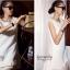 ชุดเดรสเกาหลี พร้อมส่ง luxury สีขาวช่วงชายชุดเดรสด้วย เพชรและมุข อย่างดี thumbnail 2