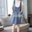 เสื้อผ้าเกาหลีพร้อมส่ง Star pendant T-shirt Splitty Skirt Bibby Set thumbnail 6