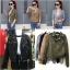 เสื้อผ้าเกาหลีพร้อมส่ง Zipper Suede Leather Biker Jacket thumbnail 7