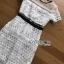 ชุดเดรสเกาหลี พร้อมส่งเดรสยาวผ้าลูกไม้ลายกราฟฟิกตกแต่งทูลล์ thumbnail 11