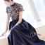 ชุดเดรสเกาหลี พร้อมส่งLong dress ลูกไม้ช่วงตัวบน ขาวดำ thumbnail 4