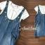 เสื้อผ้าเกาหลีพร้อมส่ง Star pendant T-shirt Splitty Skirt Bibby Set thumbnail 4