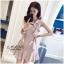 ชุดเดรสเกาหลีพร้อมส่ง Dress แขนกุดคอวีระบายด้านหน้าทั้ง2ด้าน thumbnail 1