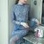 ชุดเดรสเกาหลี พร้อมส่งLong dress. ลูกไม้สีฟ้า สลับตาข่าย thumbnail 6