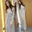 ชุดเดรสเกาหลี พร้อมส่งlong dress คอวี แขนยาวปักเลื่อมทั้งตัว thumbnail 3