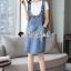 เสื้อผ้าเกาหลีพร้อมส่ง Star pendant T-shirt Splitty Skirt Bibby Set thumbnail 8
