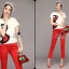 เสื้อผ้าเกาหลี พร้อมส่งเซตเสื้องานปักลายเส้นดีไซน์ปักเฉพาะด้านข้างโทนแดงดำ thumbnail 5
