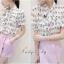 เสื้อผ้าเกาหลี พร้อมส่งงานเซตน่ารักโดนใจตัวเสื้อทรงเชิ้ตคอมีโบผูก thumbnail 3