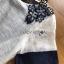 ชุดเดรสเกาหลีพร้อมส่ง เดรสผ้าซิลค์คอตตอนสีขาว-น้ำเงินปักตกแต่งดอกไม้ thumbnail 8