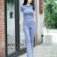เสื้อผ้าเกาหลีพร้อมส่ง เสื้อยืดคอกลมเเขนสั้น มาคู่กับกางเกงขาม้า thumbnail 4