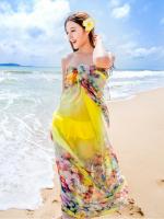 ผ้าชายทะเล ผ้าชายหาด ผ้าพันคอชีฟองดอกไม้เหลือง