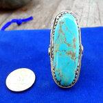 แหวนเทอร์ควอยซ์เม็ดใหญ่สวย ตัวเรือนเงินแท้ สไตร์โรมัน